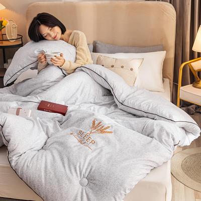 2020新款-暖绒系列被子被芯 150X210CM4.5斤冬被 绣花被-银灰色