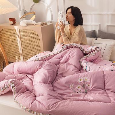 2020新款-立体绣花冬被系列被子被芯 150x200cm4斤 立体被-皮粉色