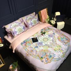 2017 新款罗莱美誉100支数码印花四件套 标准 罗芙花园-粉紫