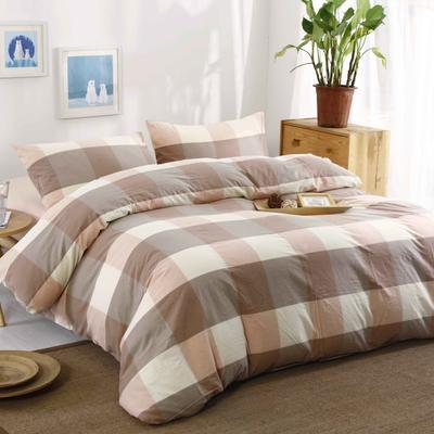 水洗棉 套件水洗棉(1)床笠款 1.2m床笠款(被套150*200) 粉灰大格