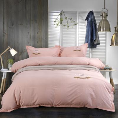 水洗棉绣花四件套 床笠款 1.8m(6英尺)床笠款 粉色纯色