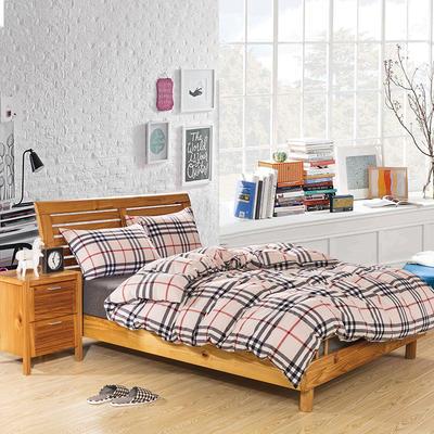简约日式全棉色织水洗棉四件套纯棉三件套全棉被套床单枕套格子彩格 三件套1.2m(4英尺)床 百丽格
