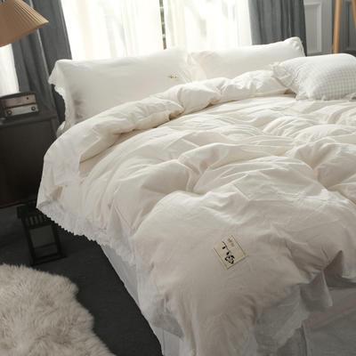 水洗棉四件套工艺款 蕾丝款 标准(1.5m/1.8m床) 蕾丝款-纯白色