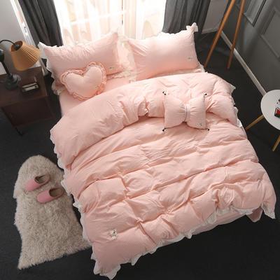 水洗棉四件套工艺款 仙女款 标准(1.5m/1.8m床) 仙女款-粉细条