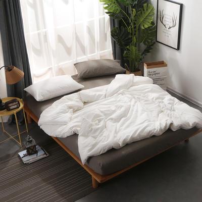 无印良品风水洗棉四件套 1.2床单款 纯白配深灰