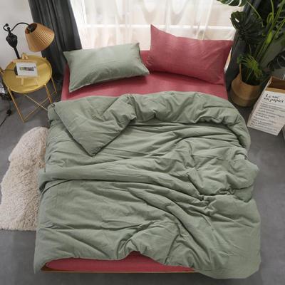 无印良品风水洗棉四件套 纯色混搭 1.2床单款 草绿配嫣红