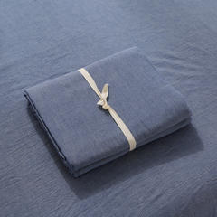 无印良品水洗棉四件套 单品床笠 150*200 牛仔蓝