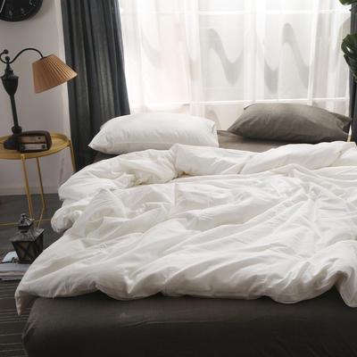 无印良品水洗棉四件套 单品被套 200*230 纯白配深灰