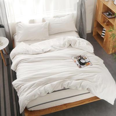 2020新款-水洗棉四件套 三件套床单款1.2m(4英尺)床 纯白+极简白