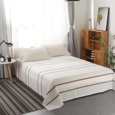 2020新款-水洗棉单品床单 240*270cm 纯白+极简白