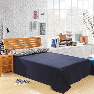 2020新款-全棉色织水洗棉纯色单床单 200cmx220cm 藏青