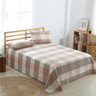 2020新款-全棉色织水洗棉格子单床单 200cmx220cm 粉灰大格
