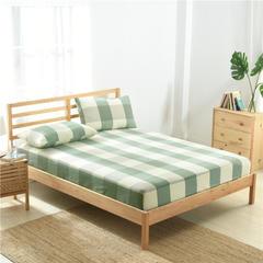 2019新款-全棉色织水洗棉格子单床笠 100*200+25 绿大格