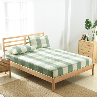 2020新款-全棉色织水洗棉格子单床笠 100*200+25 绿大格