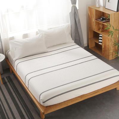 2020新款-全棉色织水洗棉条纹单床笠 100*200+25 极简白