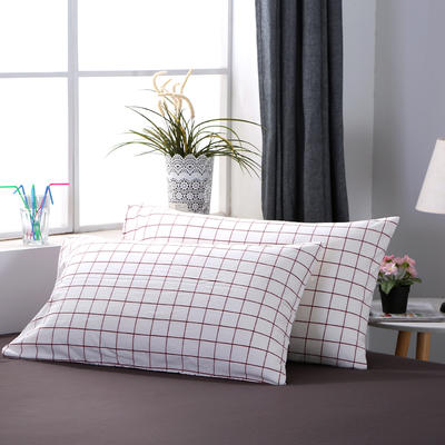 2020新款-全棉色织水洗棉格子单枕套 48cmX74cm/一对 初春