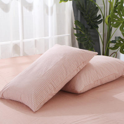 2020新款-全棉色织水洗棉条纹单枕套 48cmX74cm/一对 豆沙细条