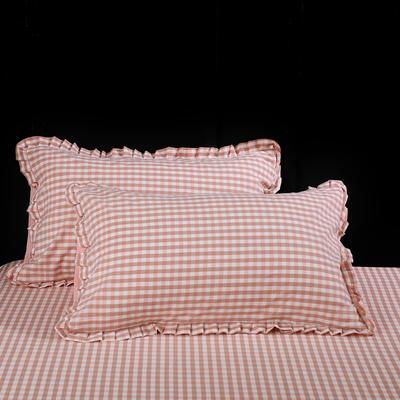 2020新款-北欧宜家全棉色织水洗棉木耳花边水洗棉枕套 48cmX74cm/个 粉格