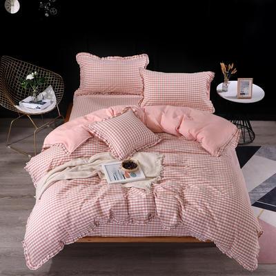 2020新款-北欧宜家全棉色织水洗棉木耳花边水洗棉四件套 床单款1.2m(4英尺)床 格调粉