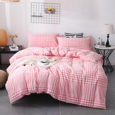 2020新款-简约日式全棉色织水洗棉四件套纯棉全棉床上用三件套 三件套1.2m(4英尺)床 错落格粉