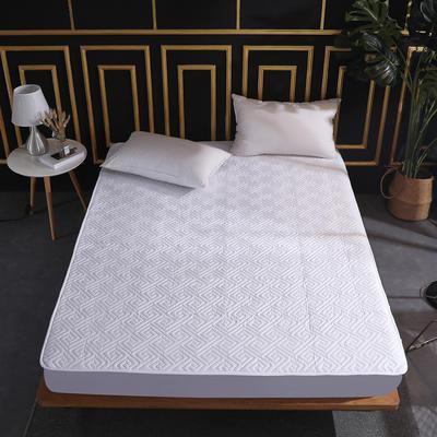 2020新款-斜纹全棉夹棉绗缝床笠 180cmx200cm 斜纹全棉纯白