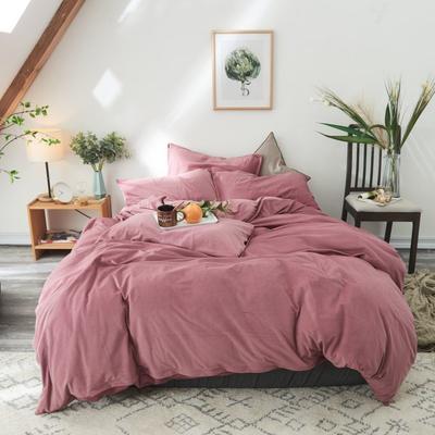 2020新款-天鹅绒四件套 床单款三件套1.2m(4英尺)床 豆沙色