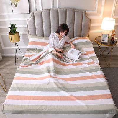 2020新款全棉色织水洗棉睡袋8色 180*210cm小布丁-绿