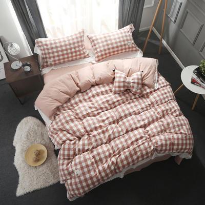 2020新款蕾丝花边款全棉四件套 1.2m床单款(枕套*1只) 蕾丝款-豆沙格