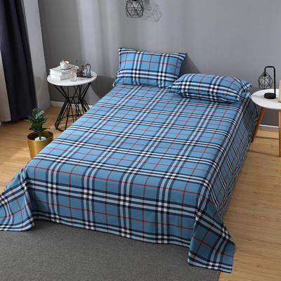 2020新款简约风全棉水洗棉单品床单 160cmx230cm单床单 百丽格蓝