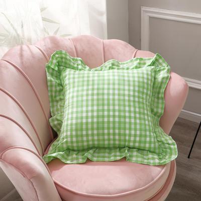 2020新款-荷叶边多彩格方型荷叶抱枕 45*45cm只/含芯 翠绿格