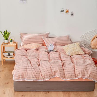 2020新款-全棉色织提花四件套 1.2m床单款三件套 全棉色织提花粉