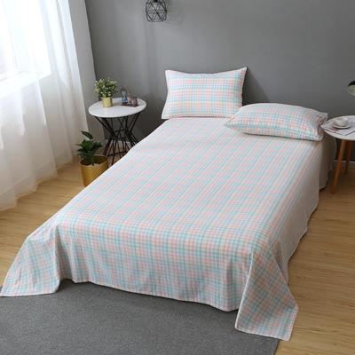 2020新款-全棉色织水洗棉单床单 160*230 冰激凌格