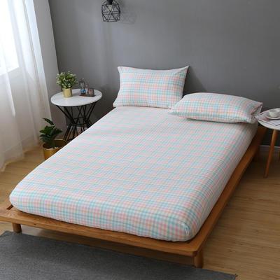 2020新款-全棉色织水洗棉单床笠 100*200 冰激凌格