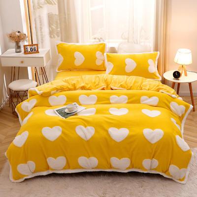 2020新款-暖绒提花四件套 1.5m床单款四件套 暖绒提花爱心黄