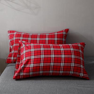 2021新款-全棉色织水洗棉华夫格单枕套 48*74cm/对 华夫格红