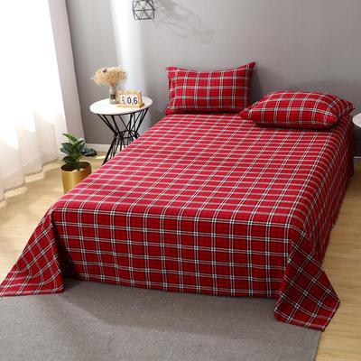 2021新款-全棉色织水洗棉华夫格单床单 200*230cm 华夫格红