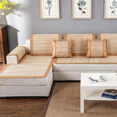 2017 新款竹席凉席沙发垫浅色条纹 枕套45*45cm 竹席凉席沙发垫(浅色条纹)