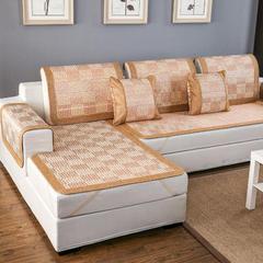 2017 新款竹席凉席沙发垫金色格子 枕套45*45cm 竹席凉席沙发垫(金色格子)