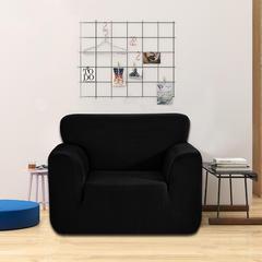 2018纯色加厚针织玉米粒全包防滑弹力万能沙发套沙发罩 80-120cm Arm chair 单 黑色