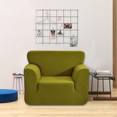 2018纯色加厚针织玉米粒全包防滑弹力万能沙发套沙发罩 80-120cm Arm chair 单 黄绿色
