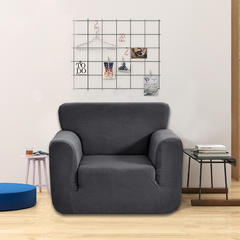 2018纯色加厚针织玉米粒全包防滑弹力万能沙发套沙发罩 80-120cm Arm chair 单 灰色