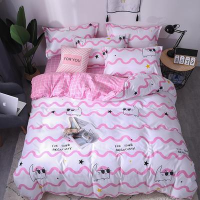 2019新品阳绒套件加厚磨毛 高支高密四件套 1.5m(5英尺)床 小猫咪