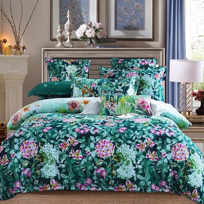 2019新款阳绒套件加厚磨毛 高支高密四件套-花卉系 被套1.5四件套 安琪绿