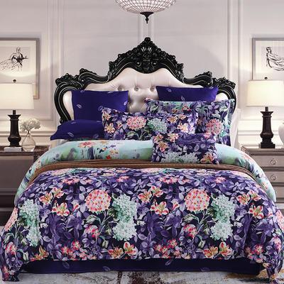 2019新款阳绒套件加厚磨毛 高支高密四件套-花卉系 被套1.5四件套 安琪紫