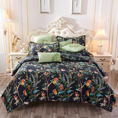 2019新款阳绒套件加厚磨毛 高支高密四件套-花卉系 被套1.5四件套 秘密庄园黑