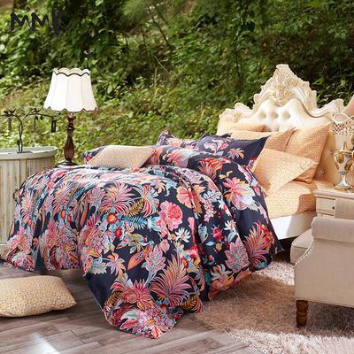 2019新款阳绒套件加厚磨毛 高支高密四件套-花卉系 被套1.5四件套 维纳黑