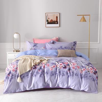 2020新款小清新阳绒棉四件套 1.8m床单款四件套 岁啦紫