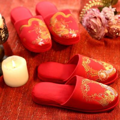 婚庆八方拖鞋 男女均码 龙凤 女款