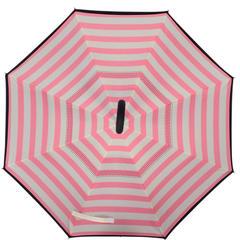 反向伞创意汽车雨伞反骨可站立免持式双层直杆伞 均码 粉条纹