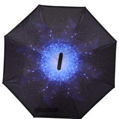 反向伞创意汽车雨伞反骨可站立免持式双层直杆伞 均码 梦幻星空